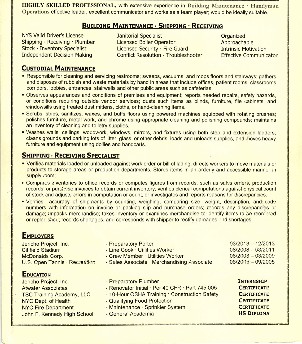 shipping and receiving resume skills