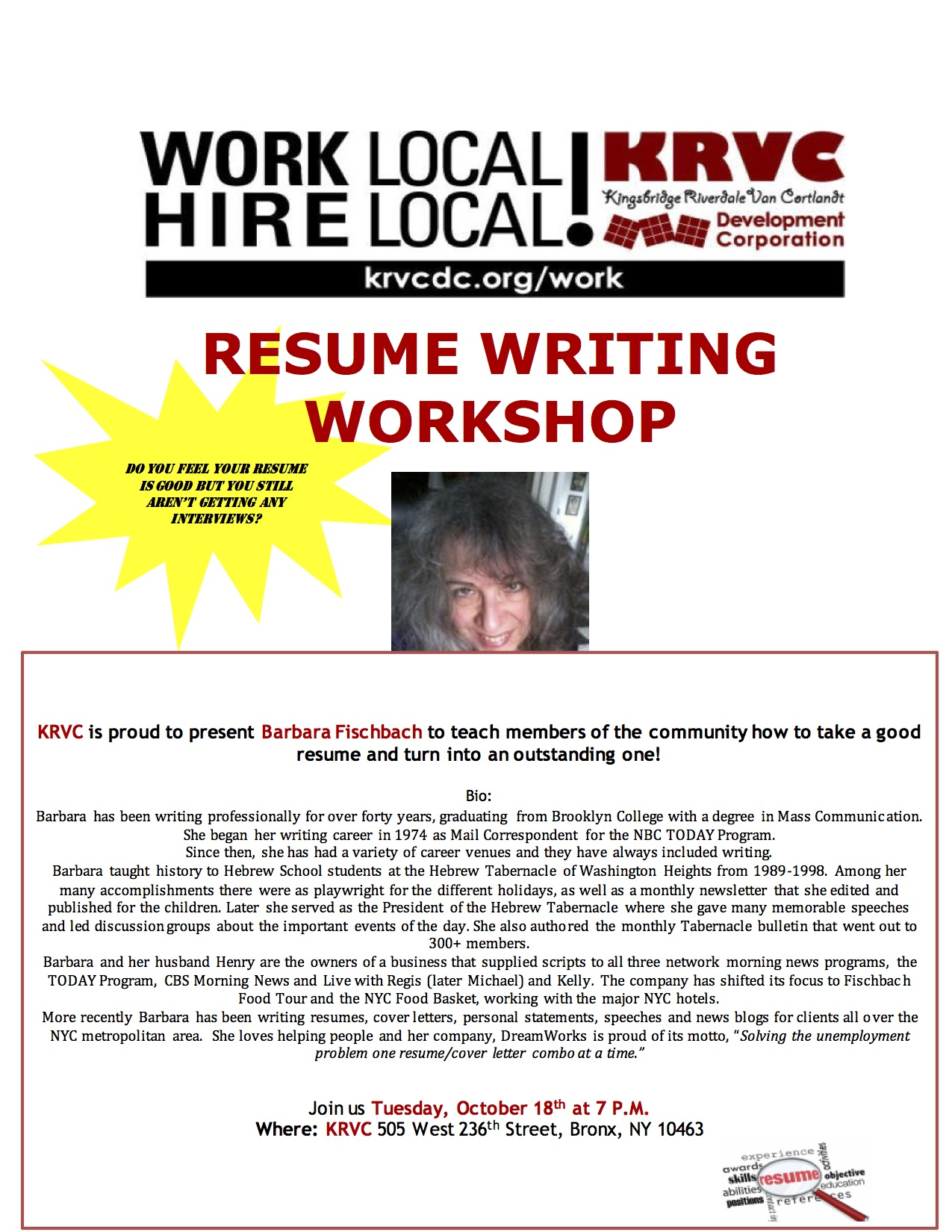 resume writing workshop krvc